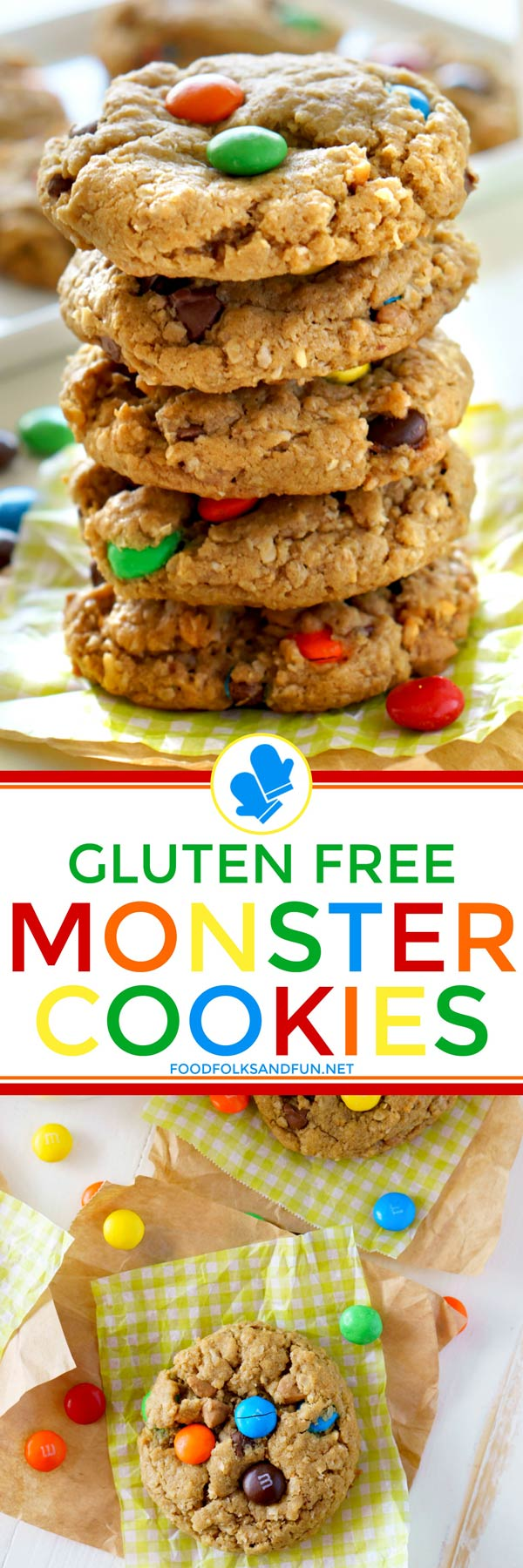 Whether you're looking for a gluten-free cookie recipe or not, you must make these Monster Cookies! They are THE BEST monster cookies you will ever make! via @foodfolksandfun