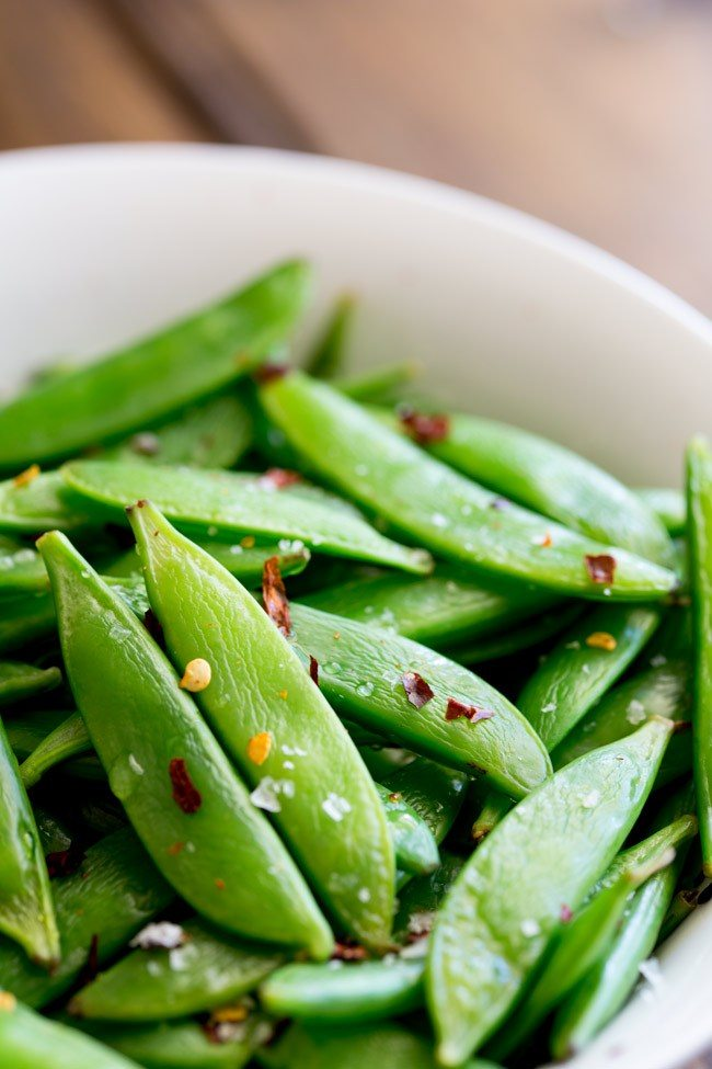 Sugar Snap Peas with Chili and Salt in a bowl