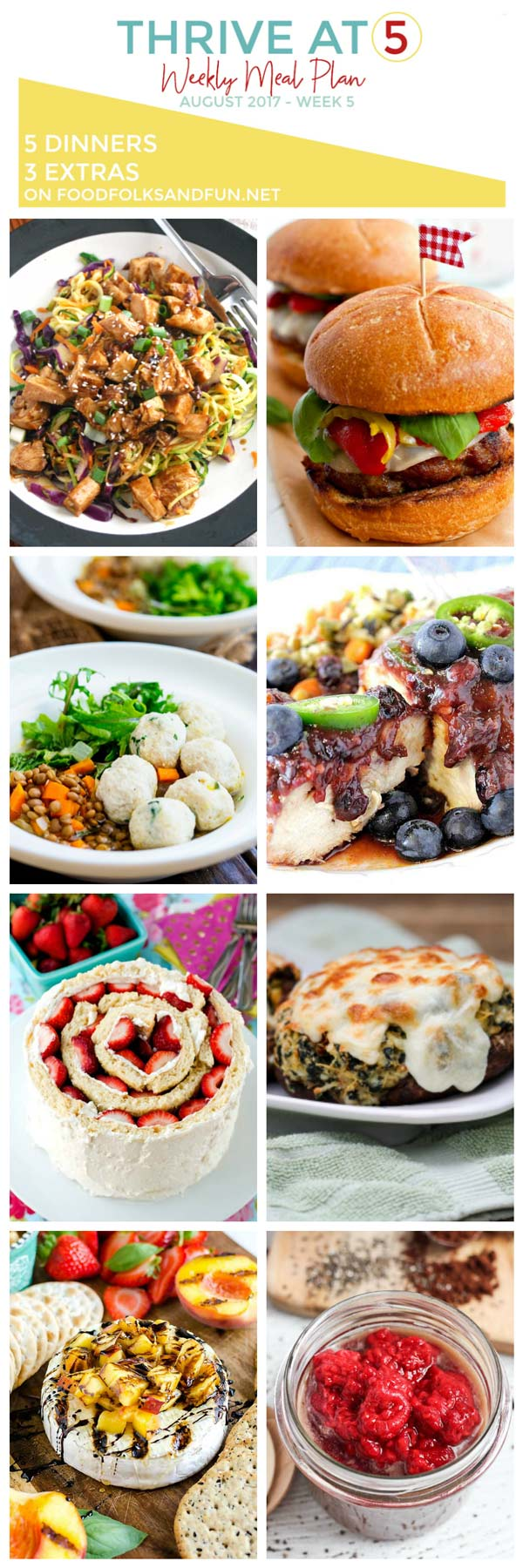 Here's the Weekly Meal Plan for July, Week 5. 5 dinners and 3 extra recipes to make your weekly meal planning a whole lot easier!  via @foodfolksandfun