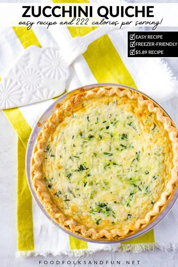 Cheese Zucchini Quiche for summer dinners