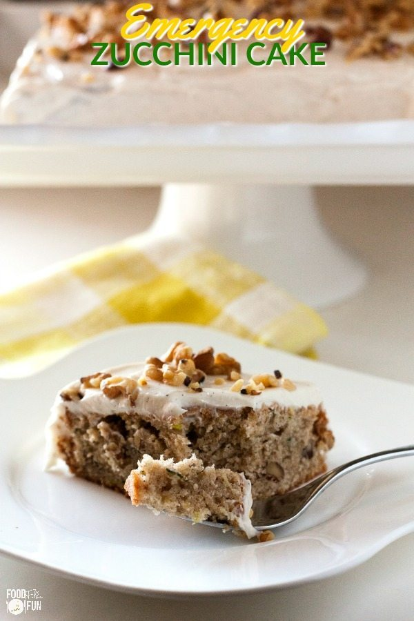 A piece of Emergency Zucchini Cake on a plate
