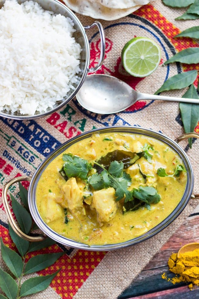 Fish curry in a bowl