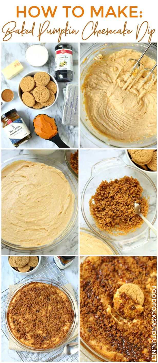 Picture collage of how to make pumpkin cheesecake dip.