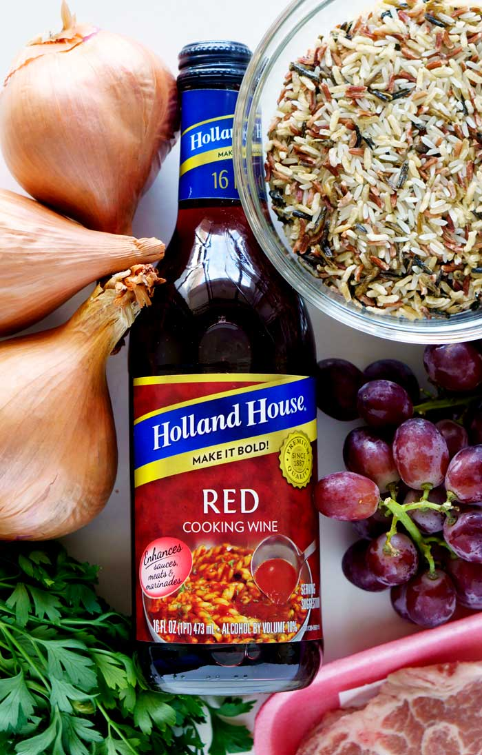 Ingredients for making Skillet Pork Chops with Red Grapes