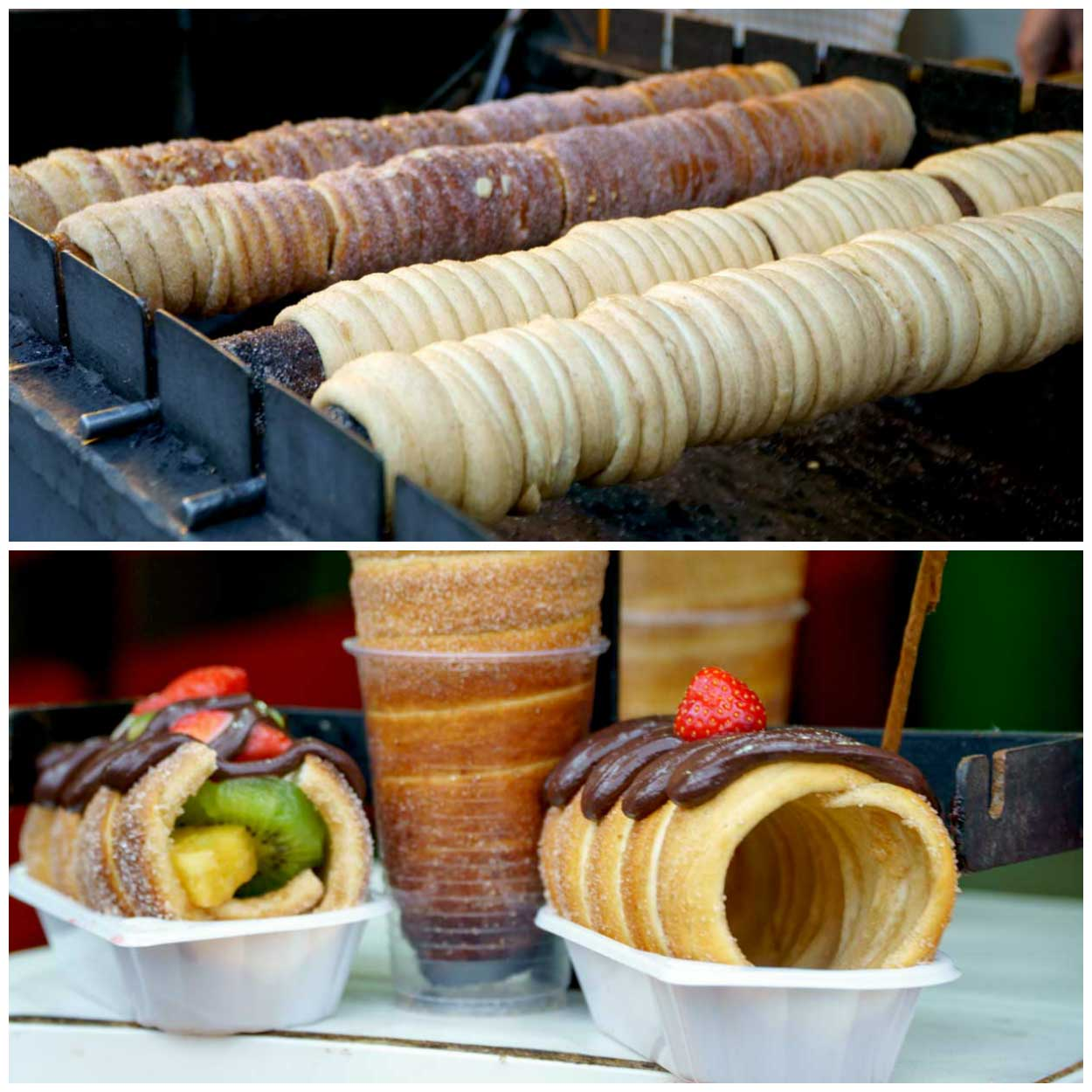 A collage of chimney cakes at a Christmas Market