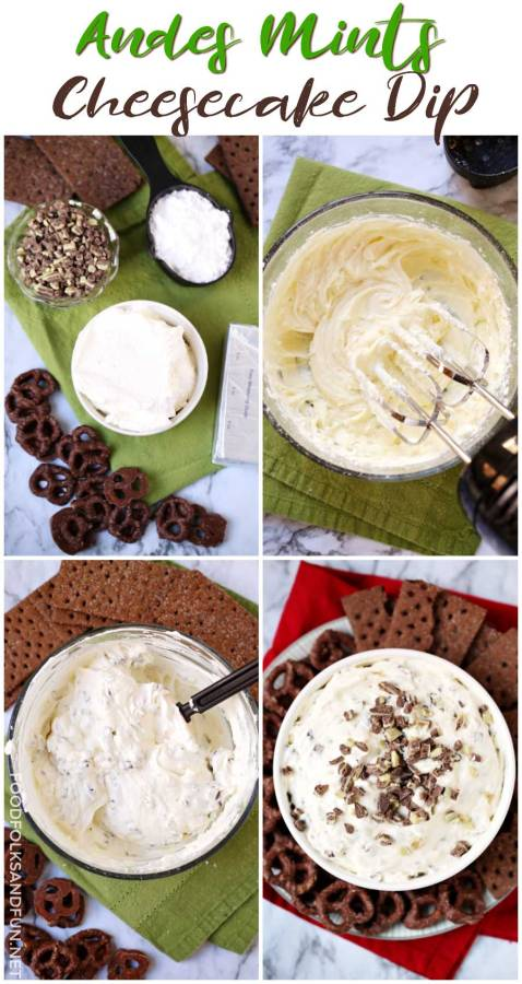 A picture collage of how to make this mint cheesecake dip.
