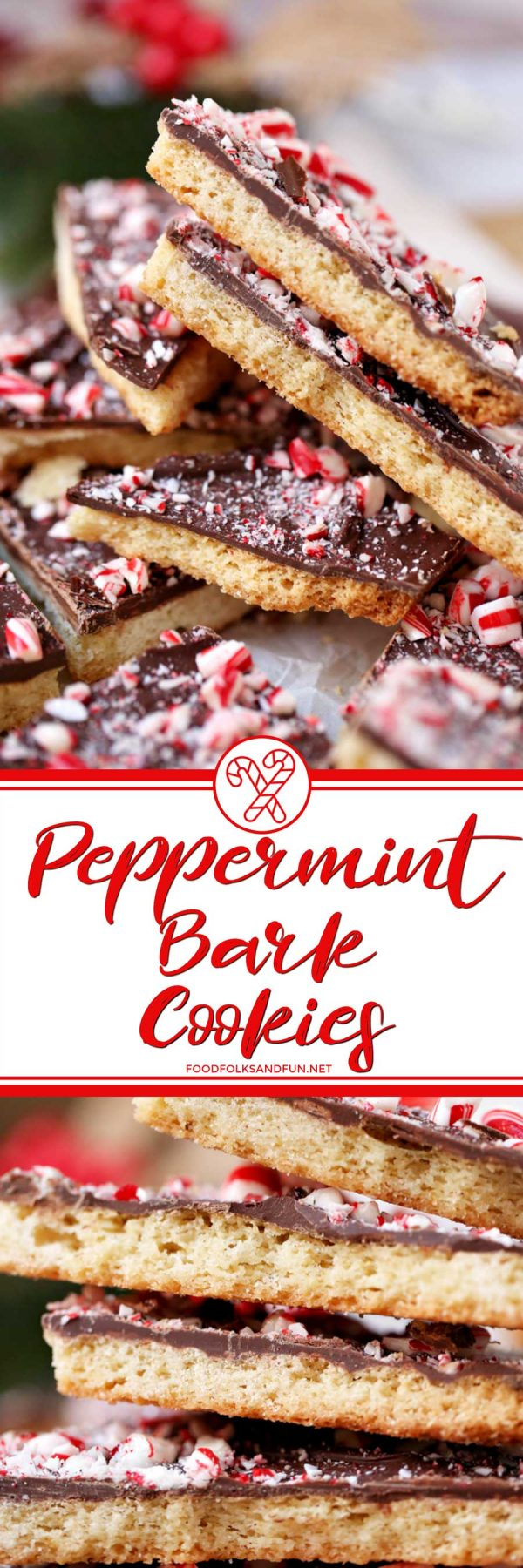 Shortbread Peppermint Bark Cookies picture collage for Pinterest.