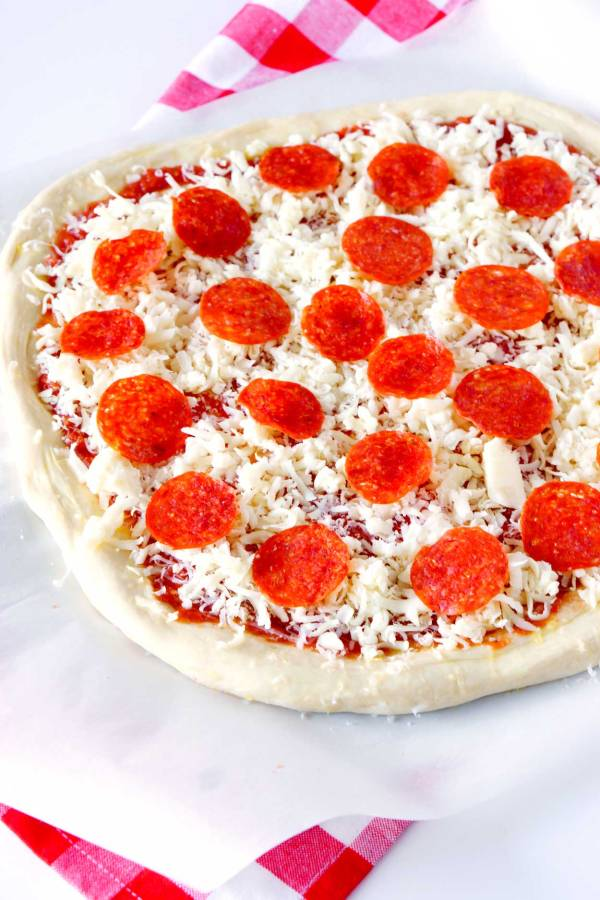 Pepperoni Pizza before baking it.