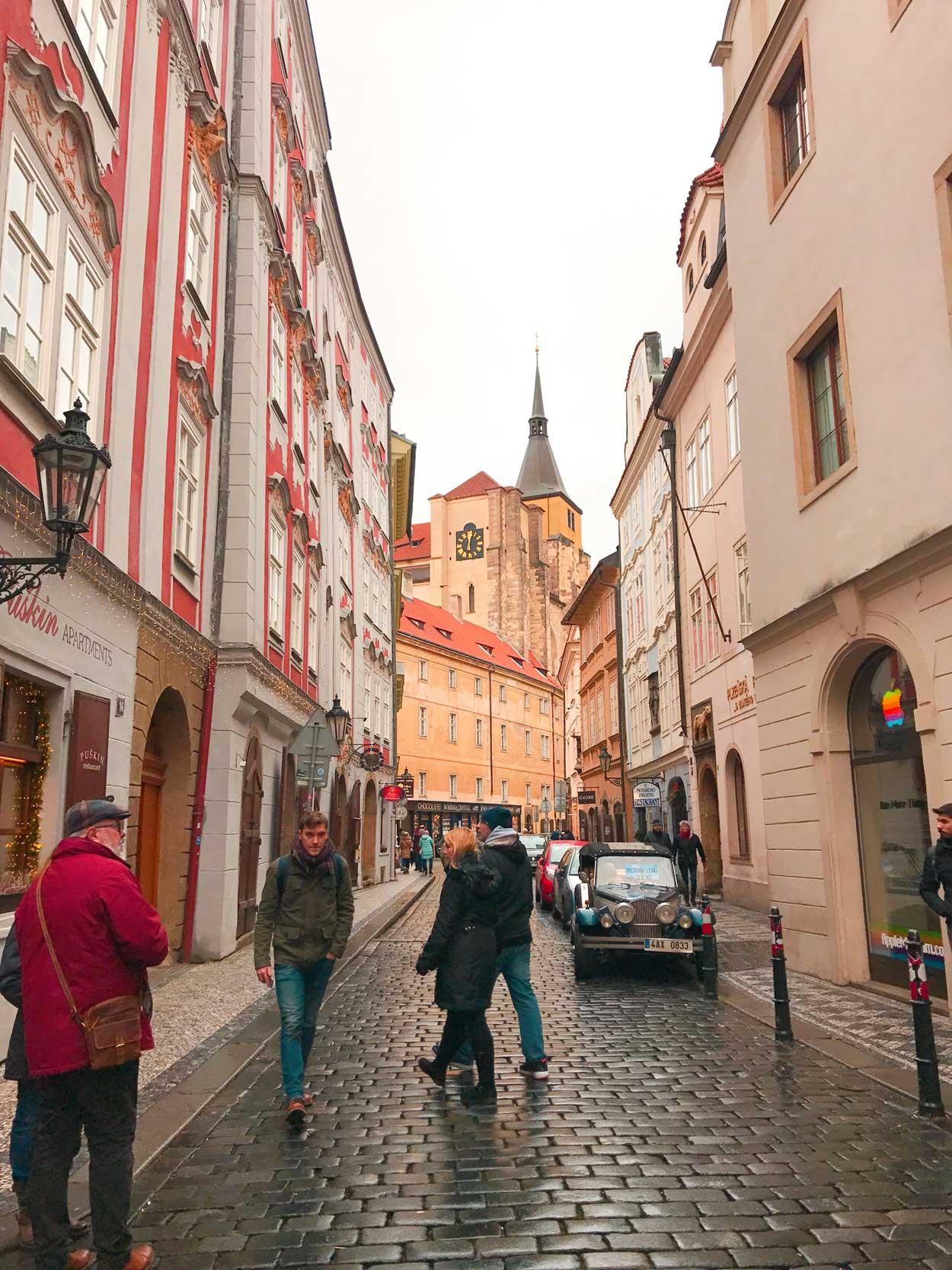 Walking the beautiful streets of Prague 1.