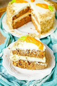 Carrot Cake with a layer of cheesecake in the center