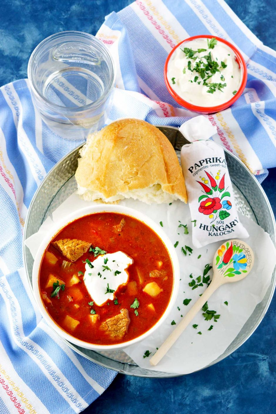 Overhead picture of Hungarian Goulash on a pretty serving platter.