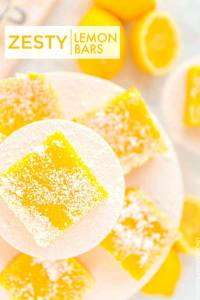 Lemon Bars stacked on top of each other.