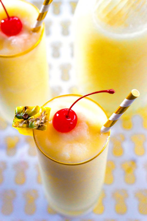 Pina Colada made with pineapple juice, cream of coconut, and ice.