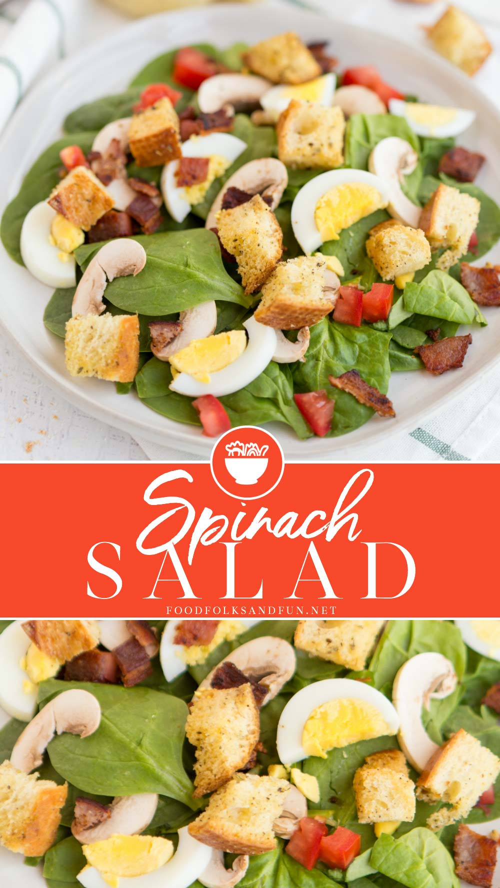 Spinach Salad is a classic that's great served year round. It's so versatile and I like to load mine up with bacon, dried cranberries, homemade croutons, and the best spinach salad dressing around! via @foodfolksandfun