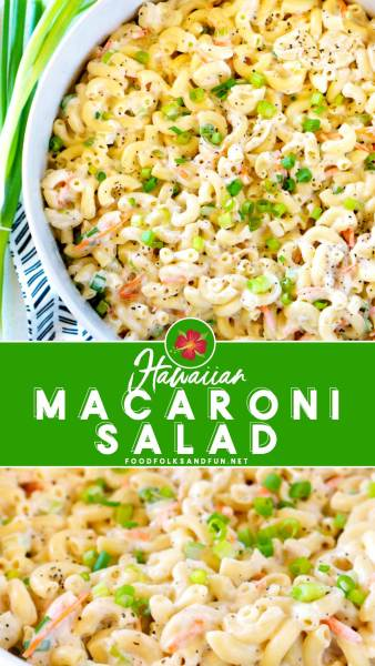 Picture collage of authentic Hawaiian Macaroni Salad recipe!