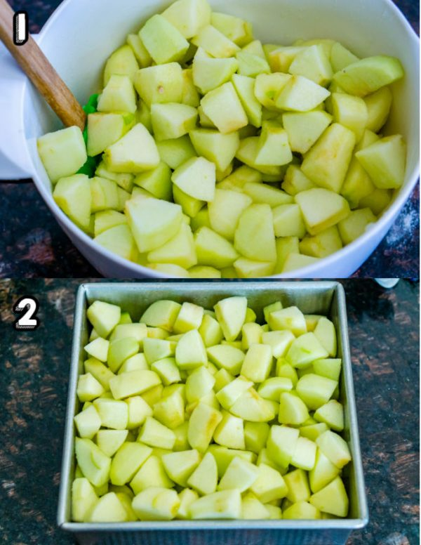 The apple mixture in an 8x8-inch pan.