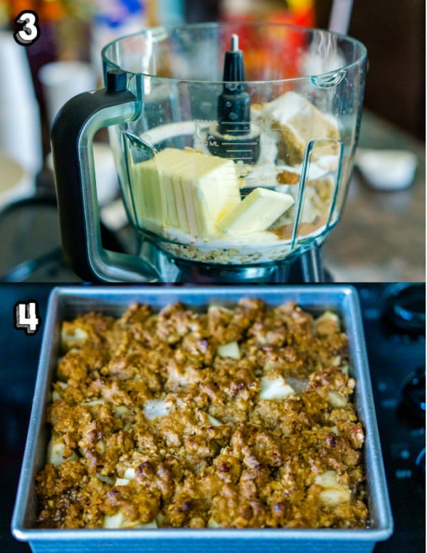 All of the topping ingredients inside a food processor before it's blended together.