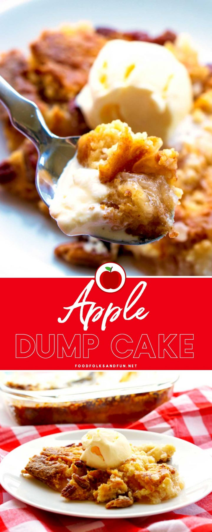 Apple Dump Cake is an easy and irresistible dessert that's made with just 4 ingredients: apple pie filling, cake mix, pecans, and butter! via @foodfolksandfun