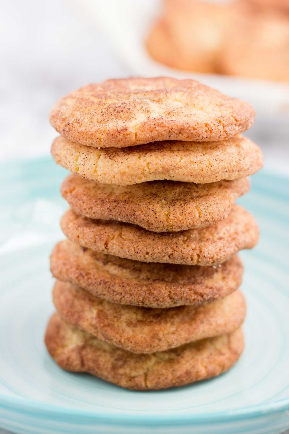 A stack of snickerdoodle cookies on a plate