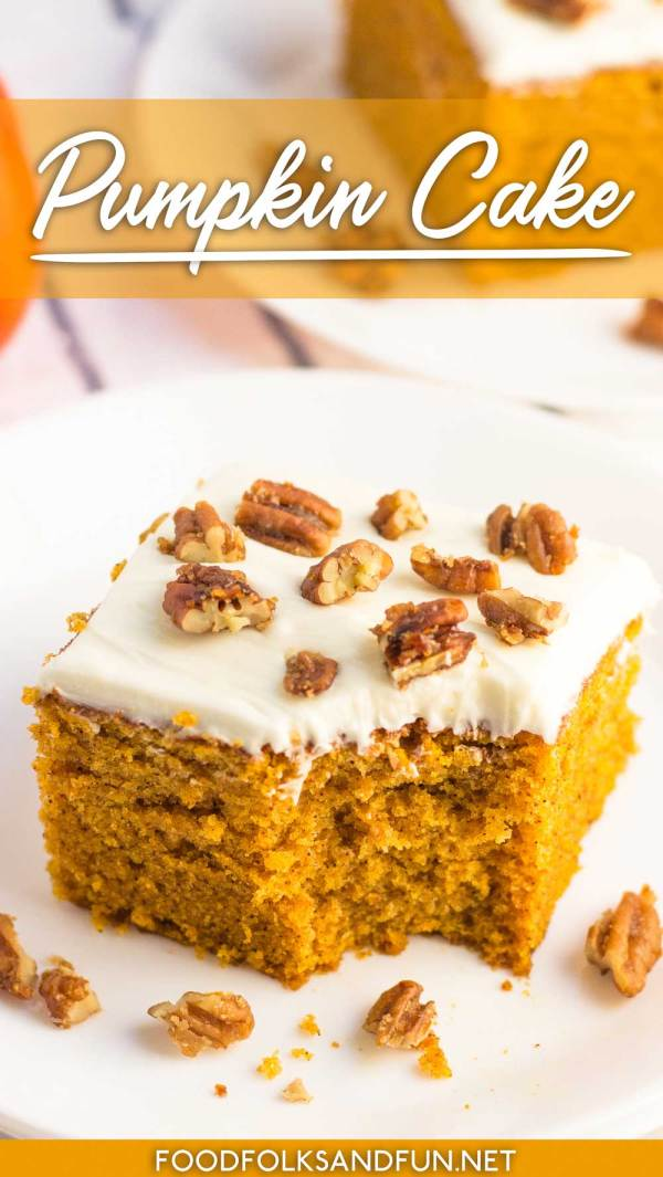 This Pumpkin Cake is easy to make and tastes so delicious! It's perfectly spiced and it's just the right dessert for Fall!