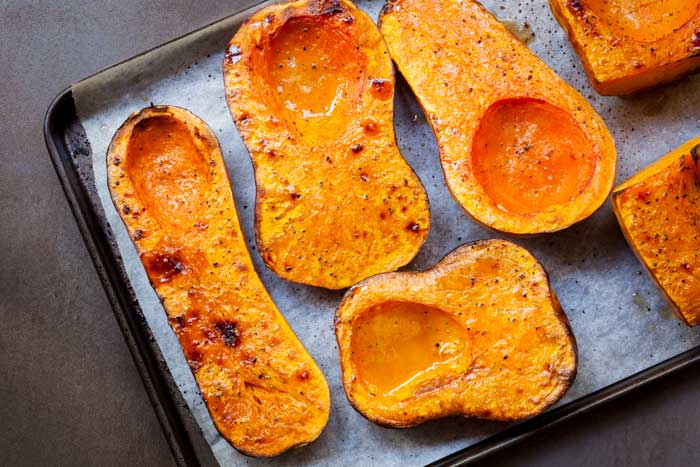 Caramelized Butternut Squash on a baking sheet