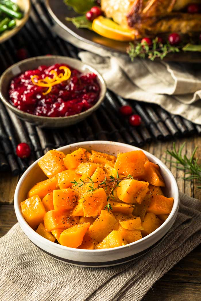 Roasted Butternut Squash on a Thanksgiving table