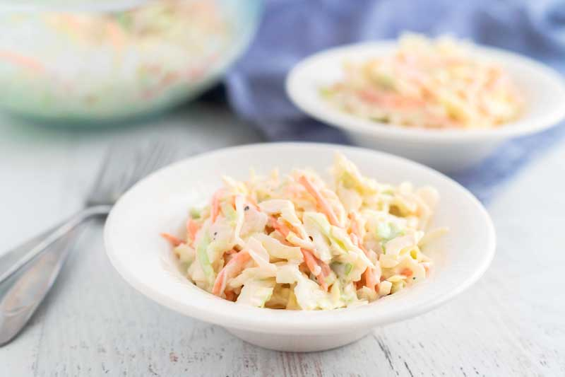 A bowl of creamy coleslaw
