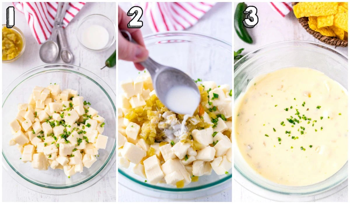 A picture collage of how to make Queso Blanco Dip.