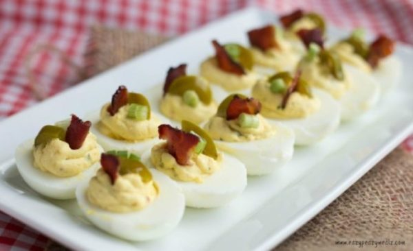 Mustard Deviled Eggs with Bacon and Jalapeño