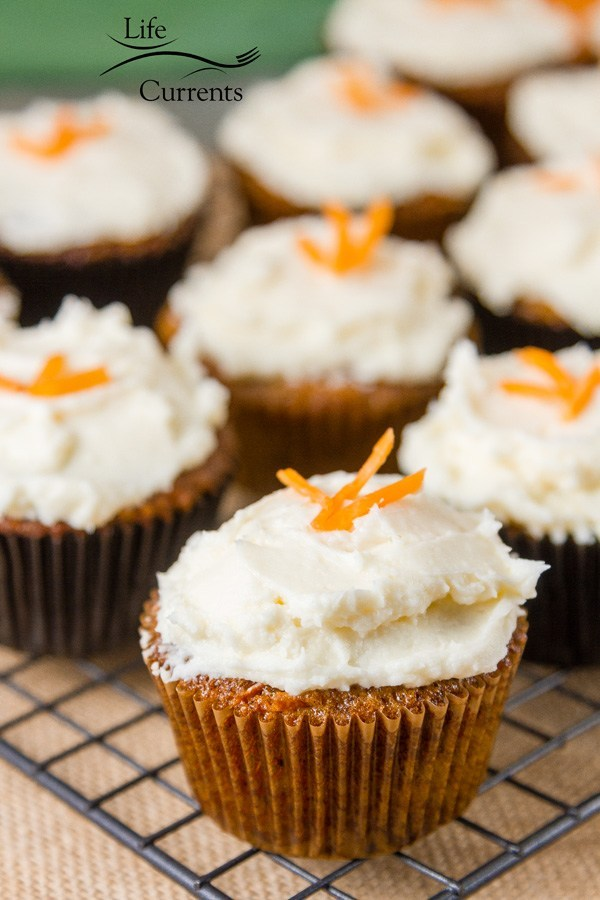 Simply decorated carrot cake cupcakes.