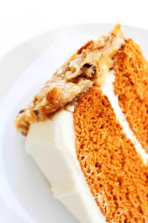 Carrot cake and German chocolate cake mash up.