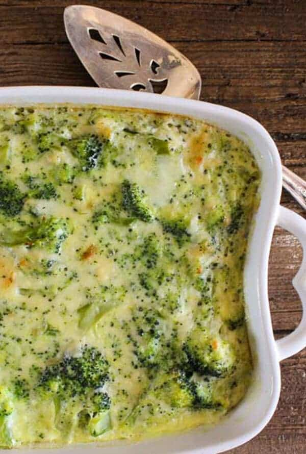 Broccoli Cheese Bake in a casserole dish