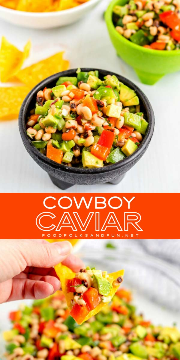 Overhead picture of cowboy caviar dip and a chip being dipped into the dip.