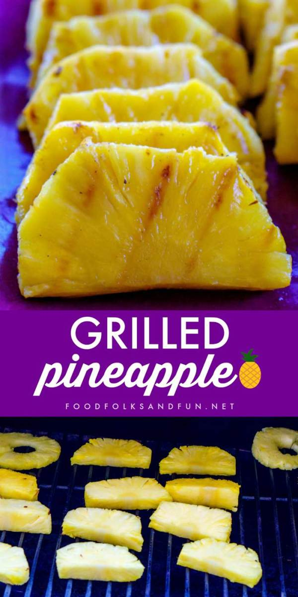 Grilled pineapple on the grill and on a serving plate.