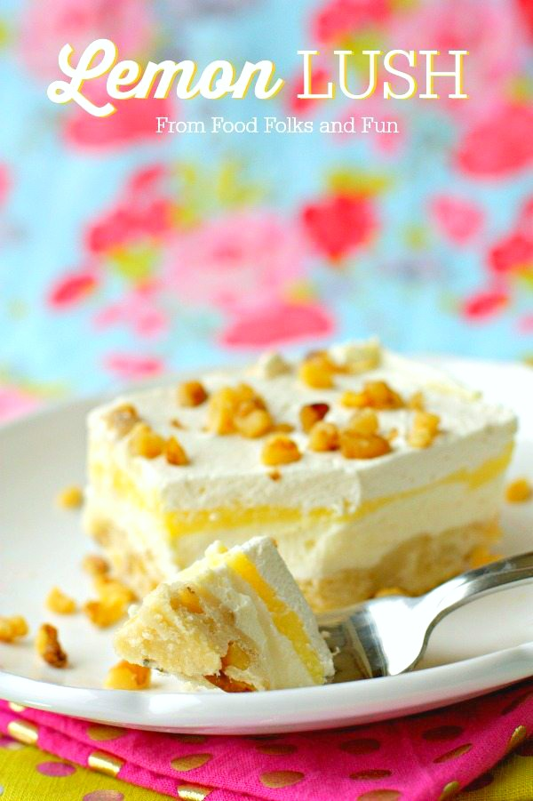 Lemon Lush is a zesty and creamy layered dessert with a shortbread crust, sweetened cream cheese, lemon pudding, and whipped cream. via @foodfolksandfun