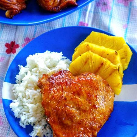 Grilled Teriyaki chicken with grilled pineapple and rice.