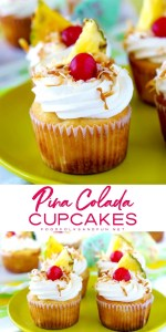 Picture collage of pina colada cupcakes on a plate.