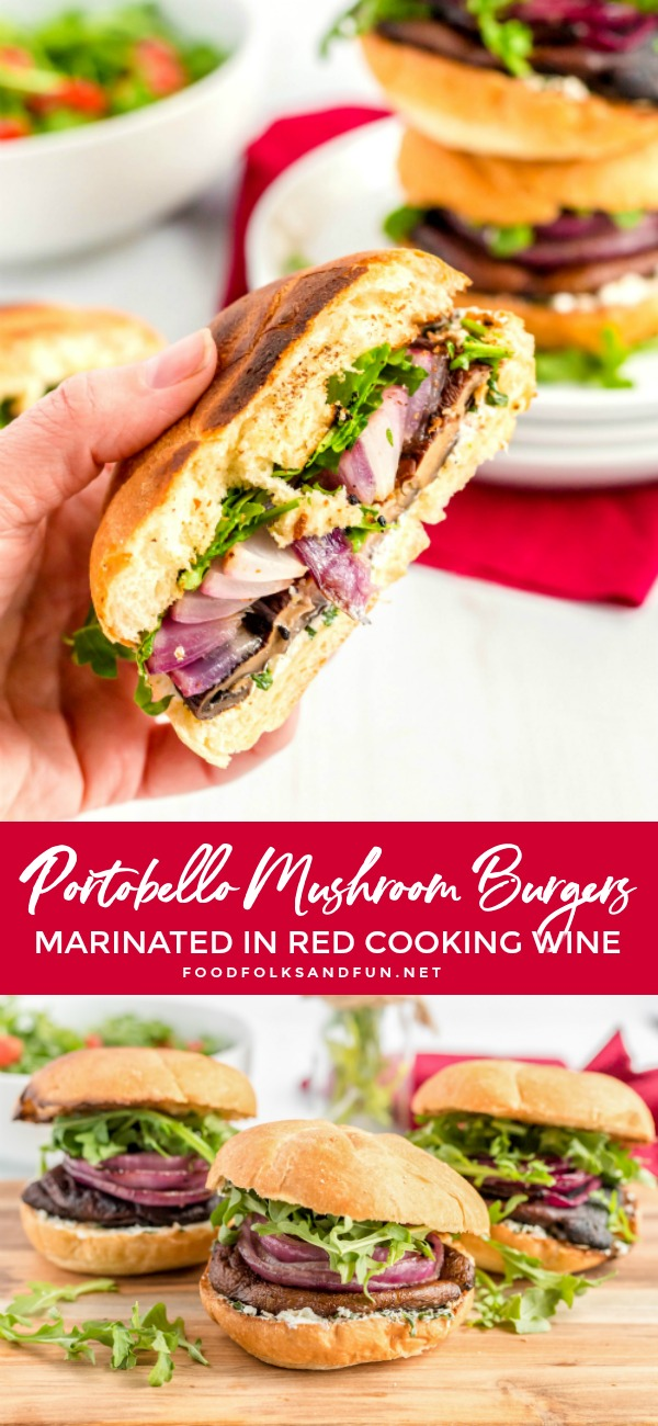 These Marinated and Grilled Portobello Mushroom Burgers are bursting with flavor. They are a quick and easy weeknight dinner that is totally worthy of dinner guests! via @foodfolksandfun