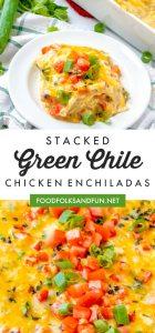 Picture collage of chicken enchiladas for Pinterest.