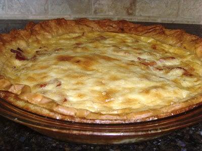 Quiche Lorraine in a pie plate