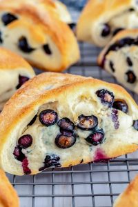 Copycat Starbucks Blueberry Scones on a wire rack.