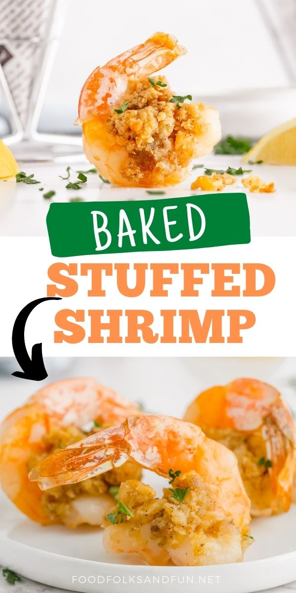 My Grandma's Baked Stuffed Shrimp recipe is a delicious New England restaurant recipe that dinner guests always rave about! It's buttery and perfectly seasoned. via @foodfolksandfun