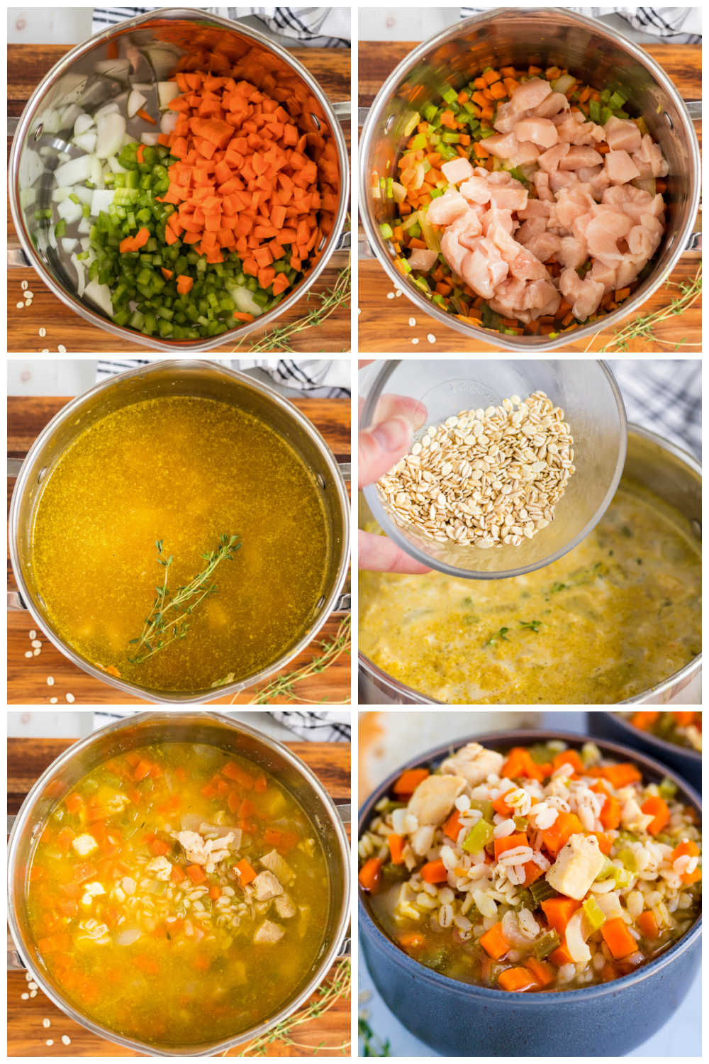 A picture collage of how to make Chicken Barley Soup.