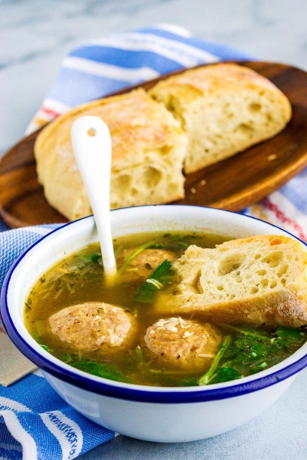 Italian Wedding Soup with big meatballs.