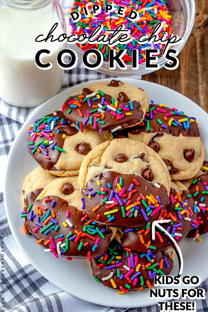 Dipped Chewy Chocolate Chip Cookies are an easy cookie that you can enjoy for the holidays or anytime. They're chewier on the outside and soft in the middle. That's cookie perfection if you ask me!  via @foodfolksandfun