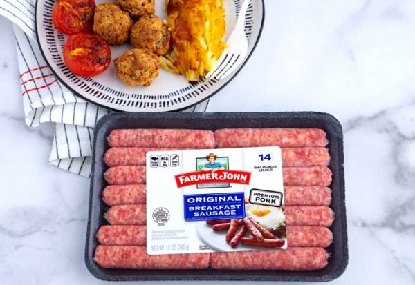 Finished dish with the sponsored product, Farmer John's Breakfast Sausage.