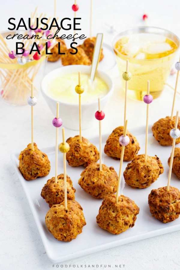 Sausage balls on toothpick with text overlay for Pinterest.