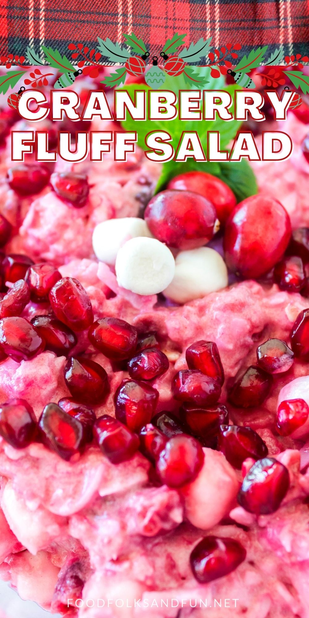 This Cranberry Fluff Salad is simply the best. It's loaded with tart cranberries, whipped cream, pineapple, coconut, marshmallows, and pomegranate seeds. via @foodfolksandfun