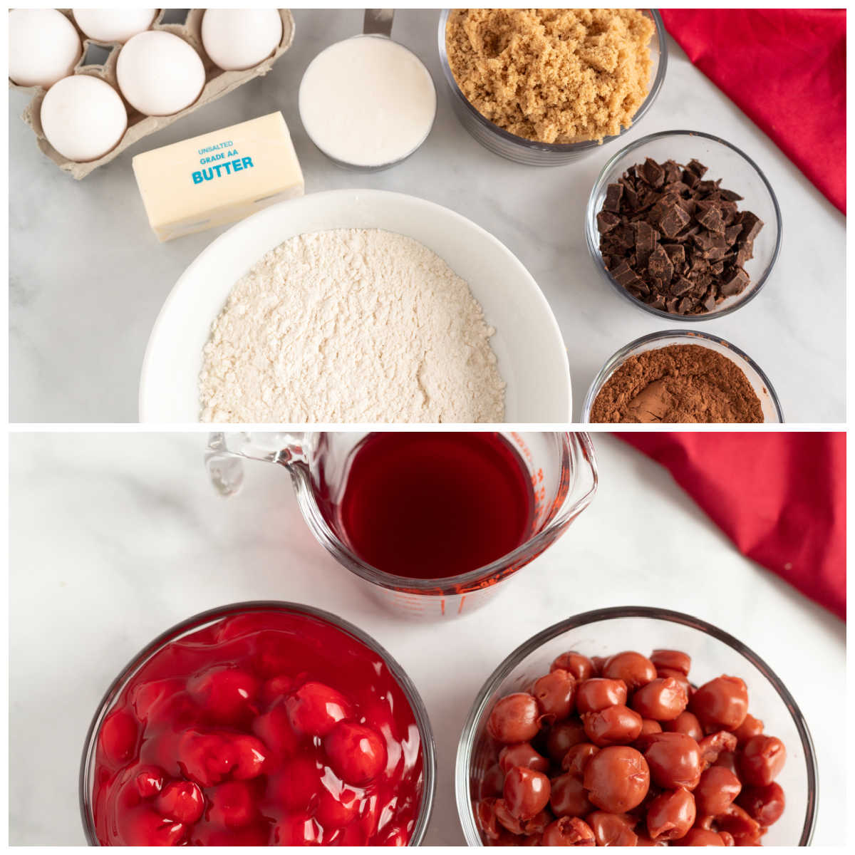 A picture collage of all of the ingredients needed to make this black forest cake recipe.
