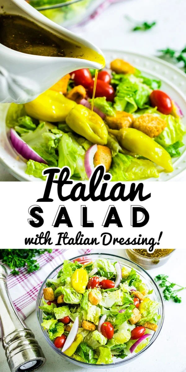 This Italian Salad with homemade Italian Salad Dressing made with romaine lettuce, cherry tomatoes, onion, basil, parsley, and more! It's a delicious and easy year-round side that everyone is sure to enjoy. via @foodfolksandfun